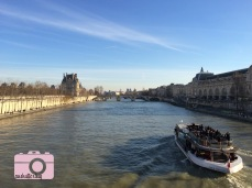 View of the Seine and a river cruise from the Passerelle Léopold-Sédar-Senghor