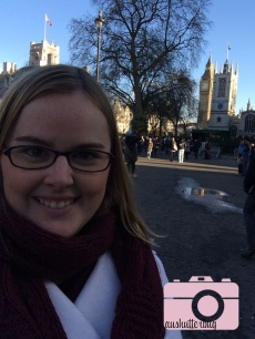 Me in front of Westminster Abbey and Big Ben